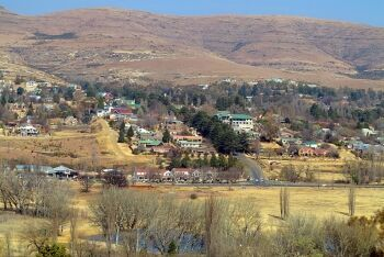 Clarens from the Clarens Golf & Trout Estate, Clarens, Free State